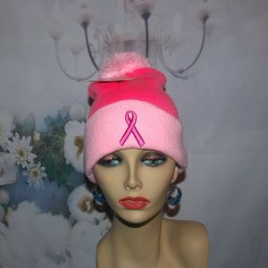 Breast Cancer Hat Embroidered Pink Insulated NWT